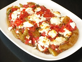 Greek Peppers with Feta Cheese and Tomato Sauce - This is a delicious and easily prepared side dish. The recipe uses the long, green sweet peppers (usually called frying peppers) as well as a couple of the hotter jalapeno peppers. The sauce is a lovely combination of Feta cheese and tomatoes - a tasty addition to any table!