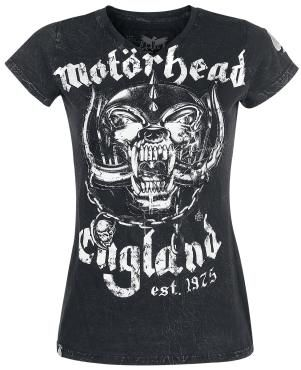 Motörhead V-Neck by the Black Premium by EMP Signature Collection:    - embroidered sleeves  - cut outs on the front  - crinkle snow wash  - front and back print  - label on the hem  - neck label in vintage style    Motörhead are true legends! Together with them Black Premium releases the EMP Signature Collection. You can exclusively get this black ladies shirt, on which the band's mascot Snaggletooth is depicted. On the sleeve the spade symbol is depicted as a stick - really cool.