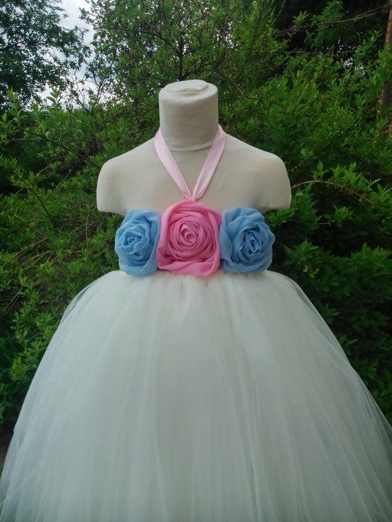 Ivory flower girl dress with chiffon flowers – wedding tutu dress – birthday tutu dress – party tutu dress – pageant dress – tutu dress