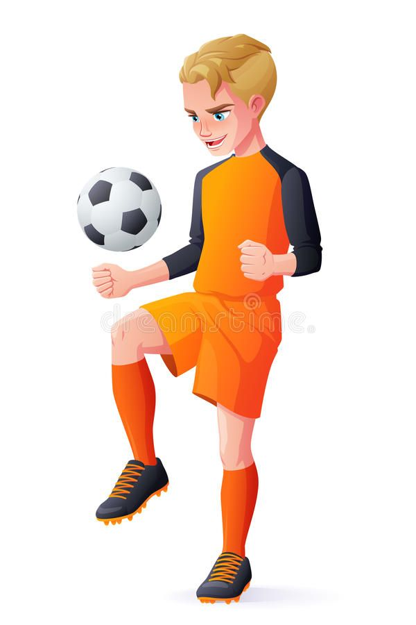 Vector Young Football Or Soccer Player Boy Playing With Ball Royalty Free Illustration In 2020 Basketball Players Illustration Cartoon Illustration