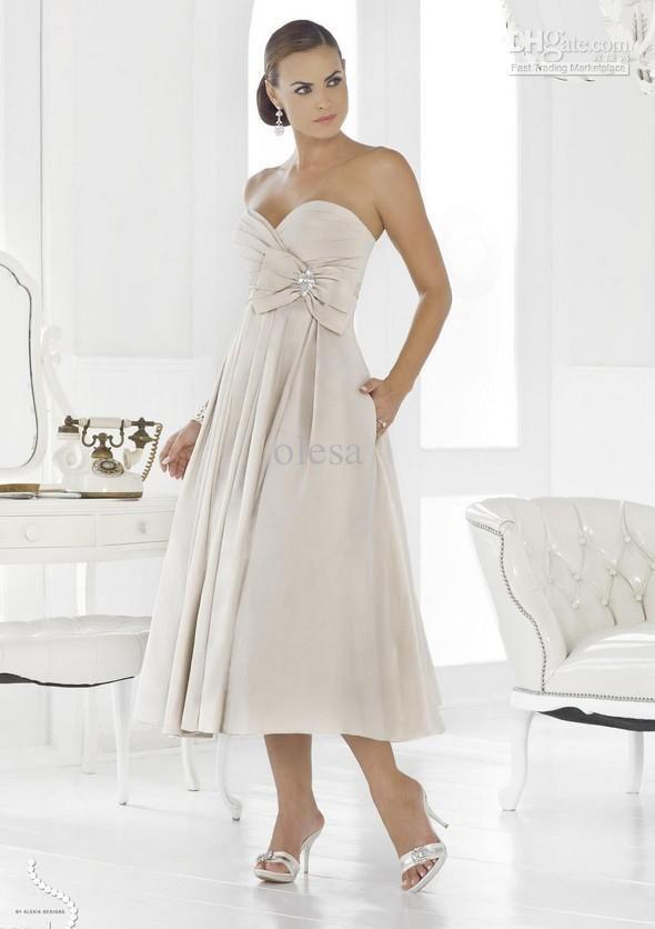 High quality a line taffeta strapless sweetheart tea for Sweetheart tea length wedding dress