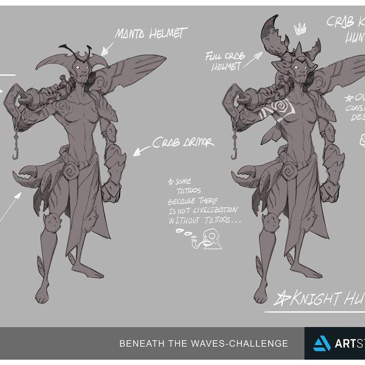 BENEATH THE WAVES-CHALLENGE UPDATE 04 KNIGHT HUNTER  Working a bit more on him.    Overall full crab design armor.    https://www.artstation.com/contests/beneath-the-waves/challenges/33/submissions/24218    CHeers!  #character #sketch #sketchbook #sketchoftheday #cool #neverstop #style #storytelling #julius_drey #illustration #art #artinstagram #followme #character #arstation