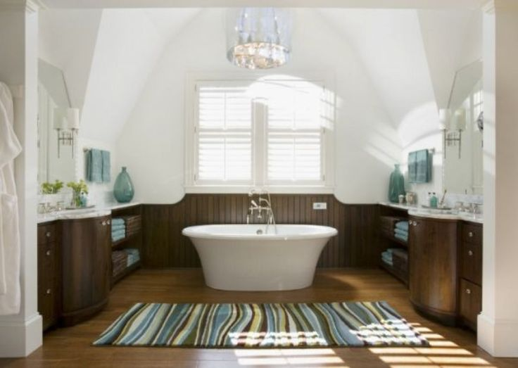 traditional bathroom with blue brown bath rug decor ideas and oval white ceramic bathtub large
