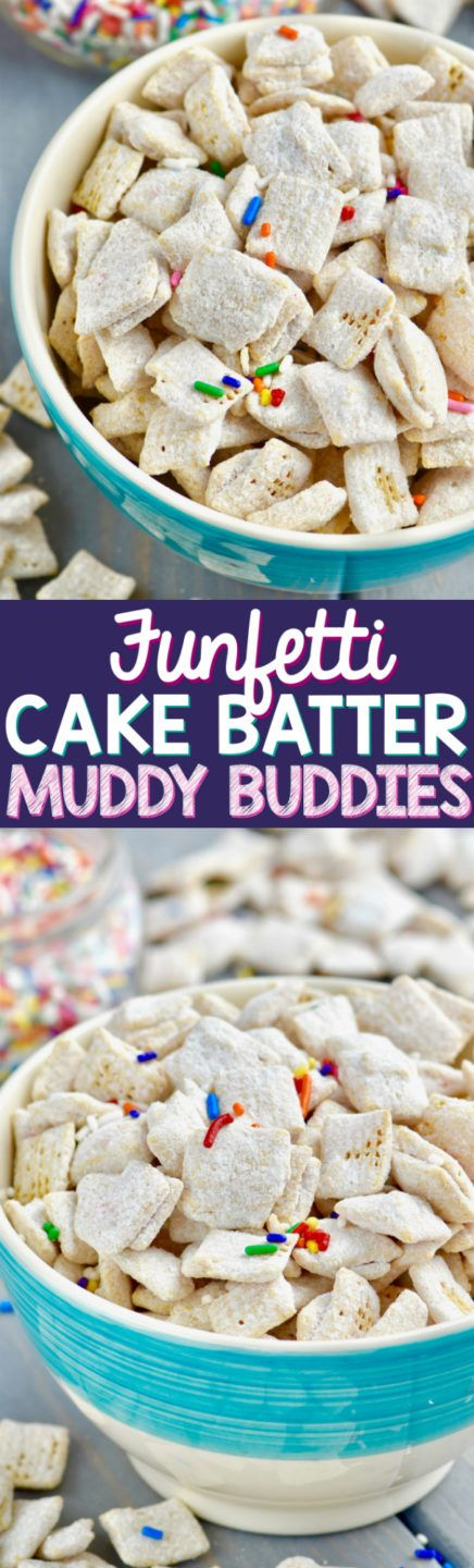 These Funfetti Cake Batter Muddy Buddies (aka Puppy Chow) are super easy to make and are like eating cake on the go!