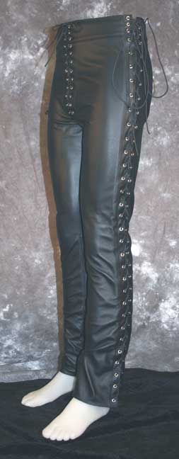 Leather Pants Sidelace Mens Leather Trousers