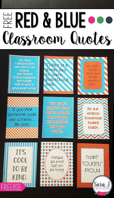 Red and Blue Classroom Quotes   This free set of red and turquoise classroom quotes are perfect for printing and hanging in your classroom to keep your students positive and motivated. It includes 10 free posters!  Get your free classroom quotes here  3-5 classroom decor classroom motivation classroom quotes motivational posters motivational quotes PreK-2 Sara J Creations