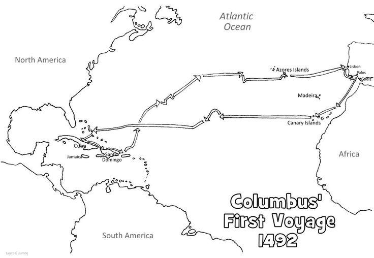 Free  Printable Map of Columbus' First Voyage #homeschool #columbus