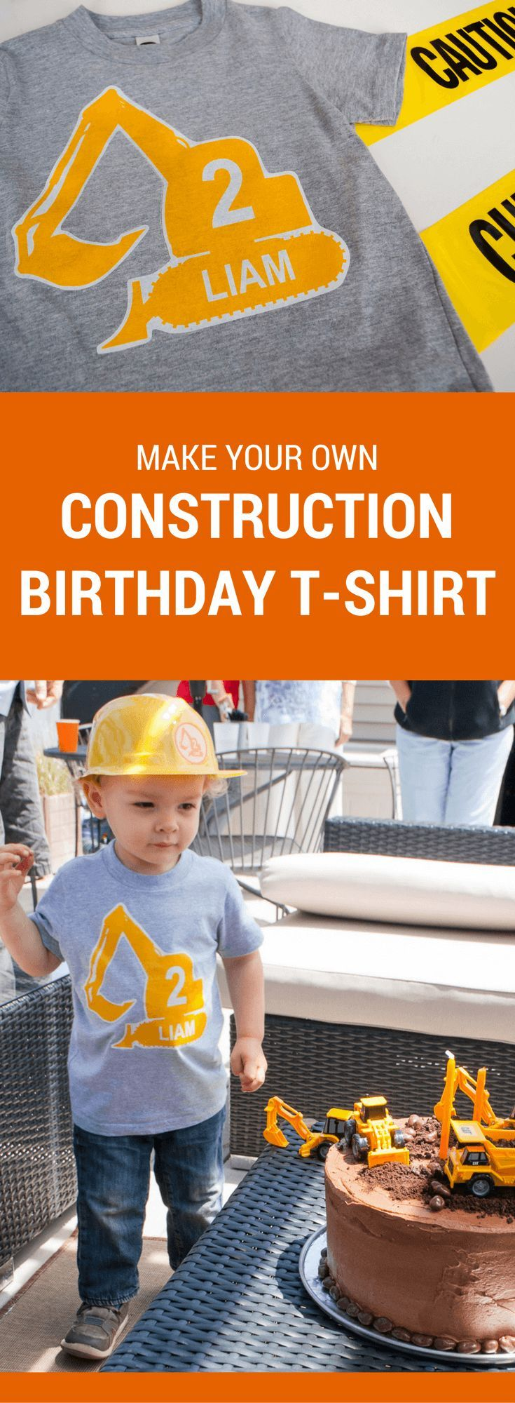 Make a DIY personalized construction birthday t-shirt for a modern construction birthday party. Just type to personalize, print, iron-on, and wear!