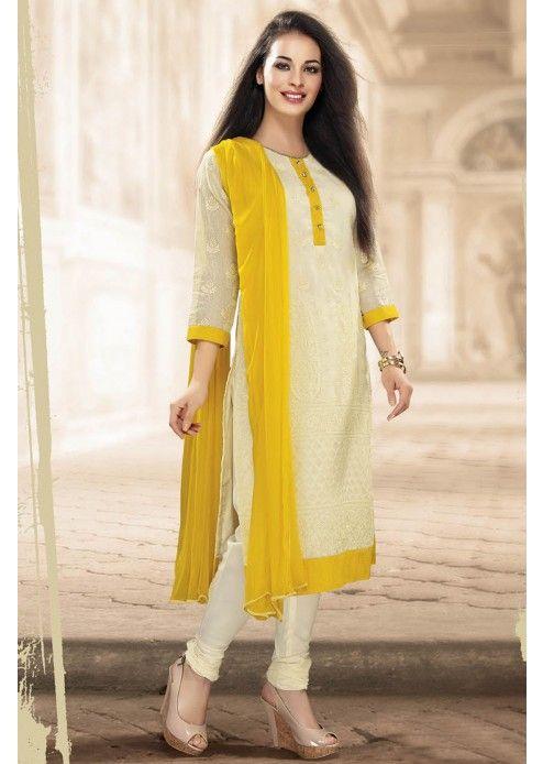 White Colour Straight Cut Salwar Suit - SL1354