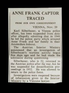 Karl Silberbauer, the man who arrested Anne Frank, is discovered.