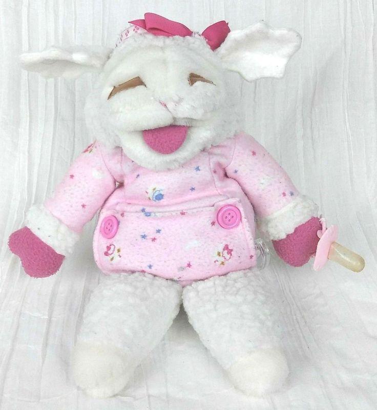 "Vintage 17"" Baby Lamb Chop in Pink PJs w/ Binky Hand Puppet Shari Lewis 1990 GUC #ShariLewisEnterprisesInc"