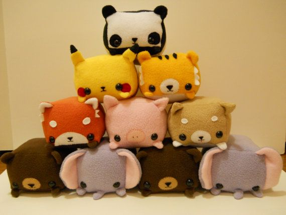 Rectangle Animals Fluttershy pony plush MADE TO by StripedDoll>>> I love the elephant and pikachu!