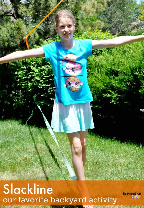 my kids LOVE playing on the slackline in our backyard!! Great for core strength and balance.