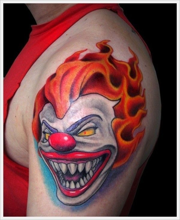 100+ Hilarious Clown Tattoos And Their Meanings nice  Check more at https://tattoorevolution.com/clown-tattoos-meanings/