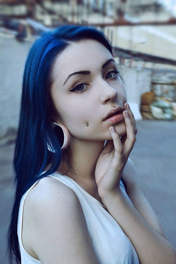 Blue Hair, Cheek Piercings, Medusa Piercing  Stretched Ears - #BodyMods