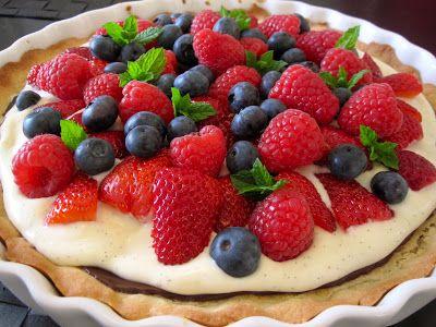 I går havde vi gæster og til dessert kastede jeg mig ud i at lave en tærte af mørdej, mazarinmasse og med vaniljecreme og bær Opskrift (...