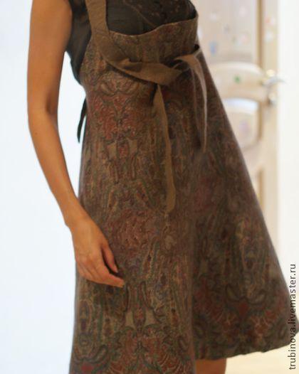 Платья ручной работы. Ярмарка Мастеров - ручная работа. Купить Валяный сарафан ПРОДАНО. Handmade. Коричневый, этро, дизайнерская одежда