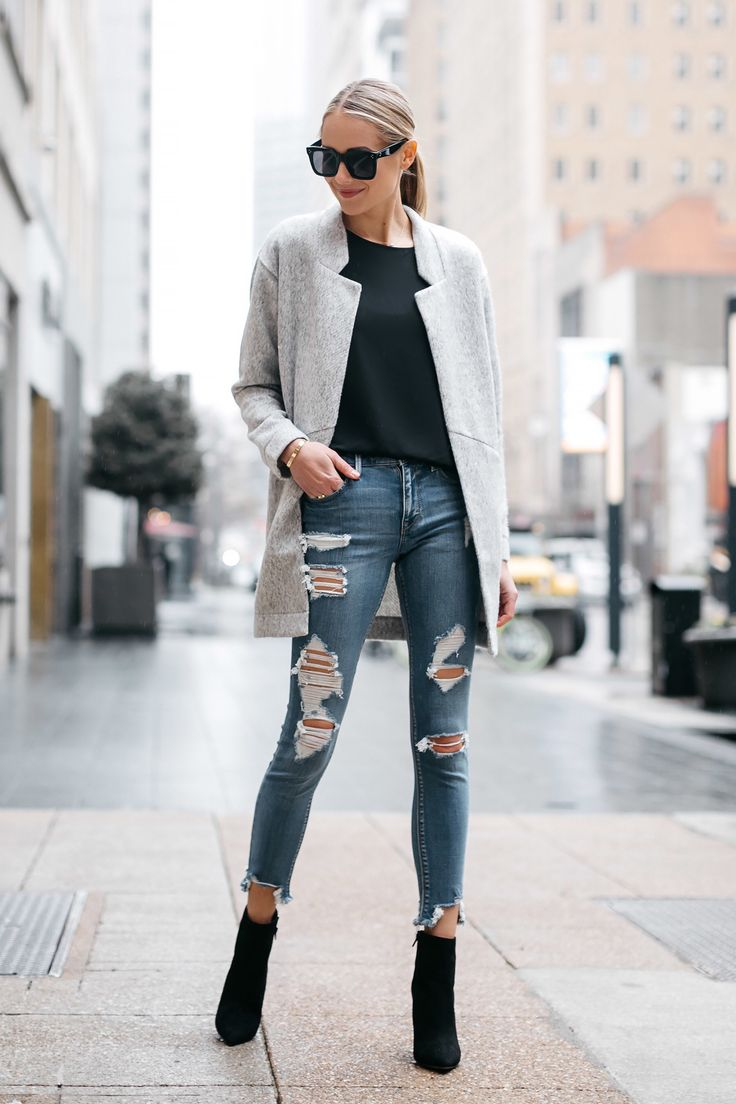 Blonde Woman Wearing Express Grey Coat Denim Ripped Skinny Jeans Black Booties Fashion Jackson Dallas Blogger Fashion Blogger Street Style