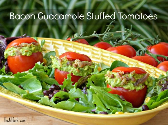 Bacon & Guacamole Stuffed Campari Tomatoes - this yummy avocado recipe is perfect atop a salad or to serve as healthy party appetizers. | thefitfork.com