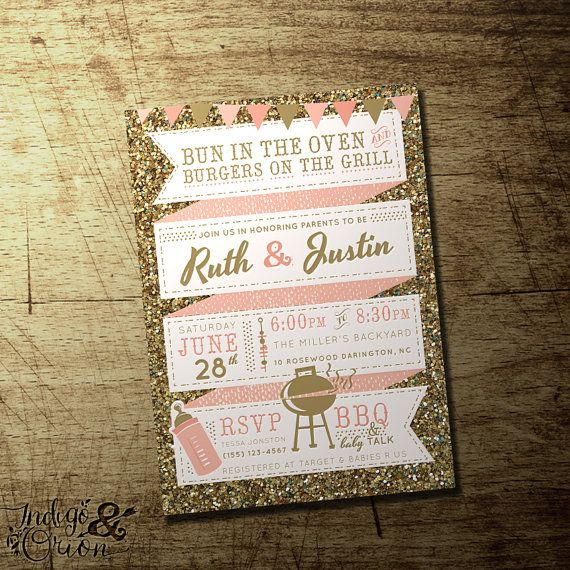 20 best baby shower invitations for girls images on pinterest gold glitter and pink couples bbq baby shower invitation coed baby shower baby girl high quality digital printable file bun in the oven filmwisefo Image collections