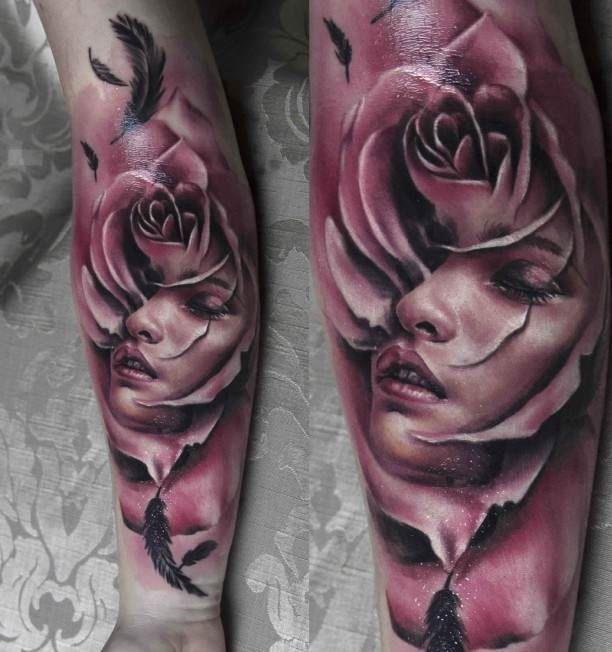 Women portrait Tattoo in Rose 3D   #Tattoo, #Tattooed, #Tattoos
