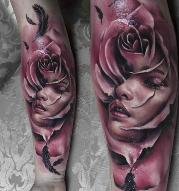 Women portrait Tattoo in Rose 3D   #Tattoo, #Tattooed, #Tattoos