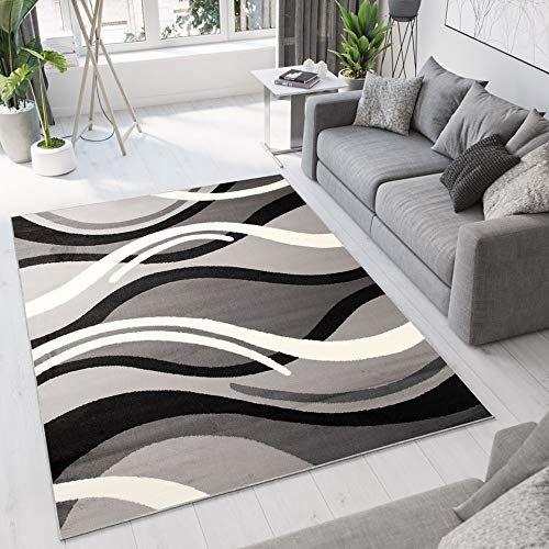 Tapiso Dream Tapis De Salon Chambre Design Moderne Noir Gris Blanc Abstrait Ondes Vagues Fin Doux Poil Court Chambre Design Decoration Salon Decoration Maison