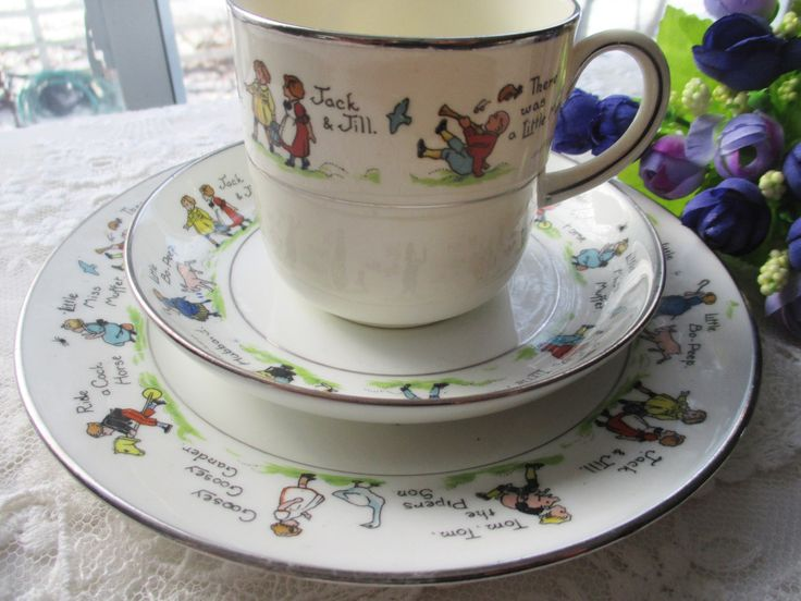 Paragon Nursery Rhymes Cup, Saucer and Plate, Antique Childrens Tea, Vintage Paragon Childs Set, Vintage Nursery Rhyme dishes,Vintage Dishes by MyGrandmothersHouse on Etsy