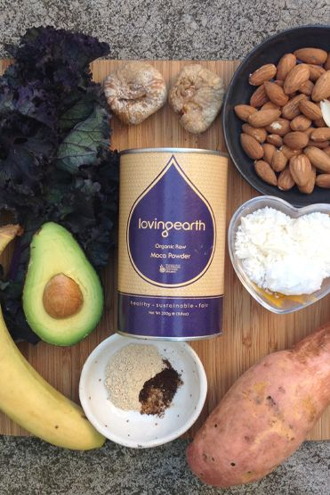 Hormone Balancer smoothie.    - 1-2 teaspoons of Maca Powder  - 1⁄2 an avocado - 1 frozen banana - 2 figs - 1⁄4 cup of Almonds - 1⁄4 sweet potato, steamed - 1 tablespoon Coconut Paste - 2 stalks of kale  - 2 cups of water
