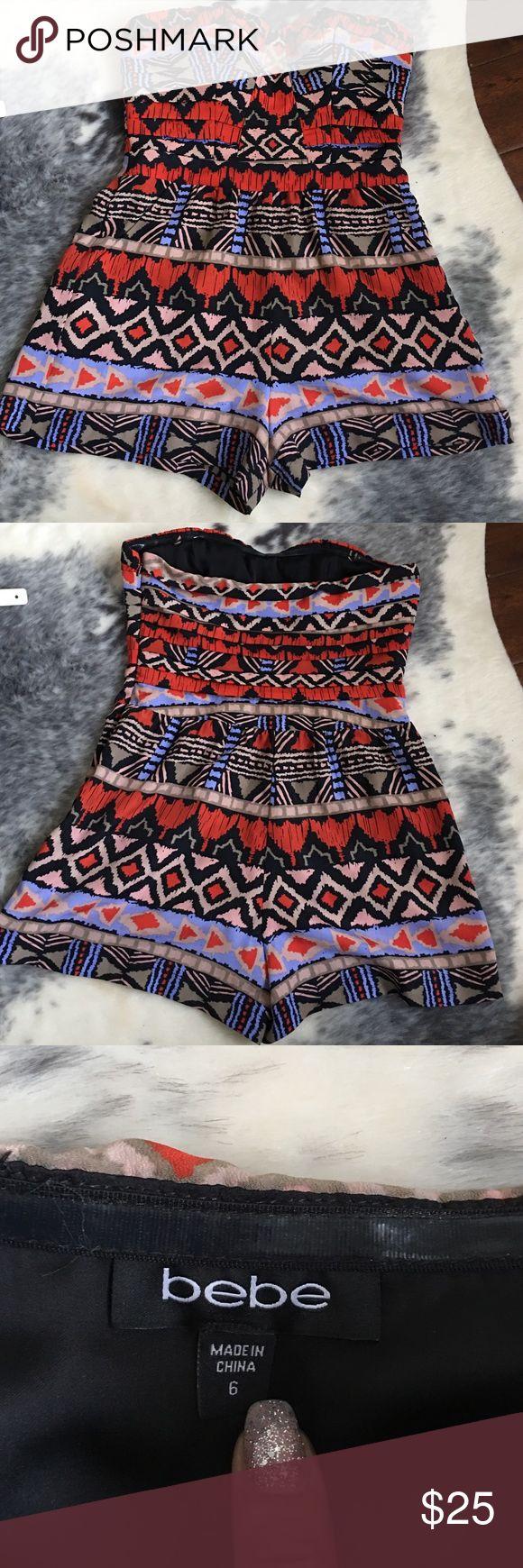 Tribal shorts romper Bebe tribal romper w/shorts 😍 bebe Other