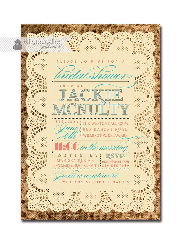 lace burlap bridal shower invitation vintage rustic coral u0026 turquoise text wedding shower free priority shipping or diy printable jackie