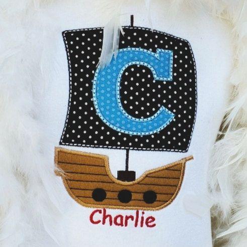 Custom Personalized Machine Embroidered/Appliquéd #PirateShipShirt by #RockintheTutu on Etsy
