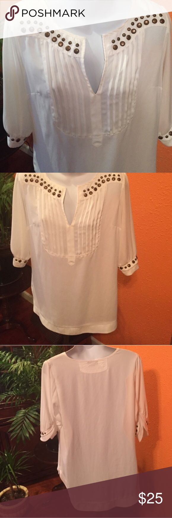 Studded Pleated Top by Bardot Gorgeous cream colored top with edgy studs and great detail.  Excellent condition! Bardot Tops Blouses