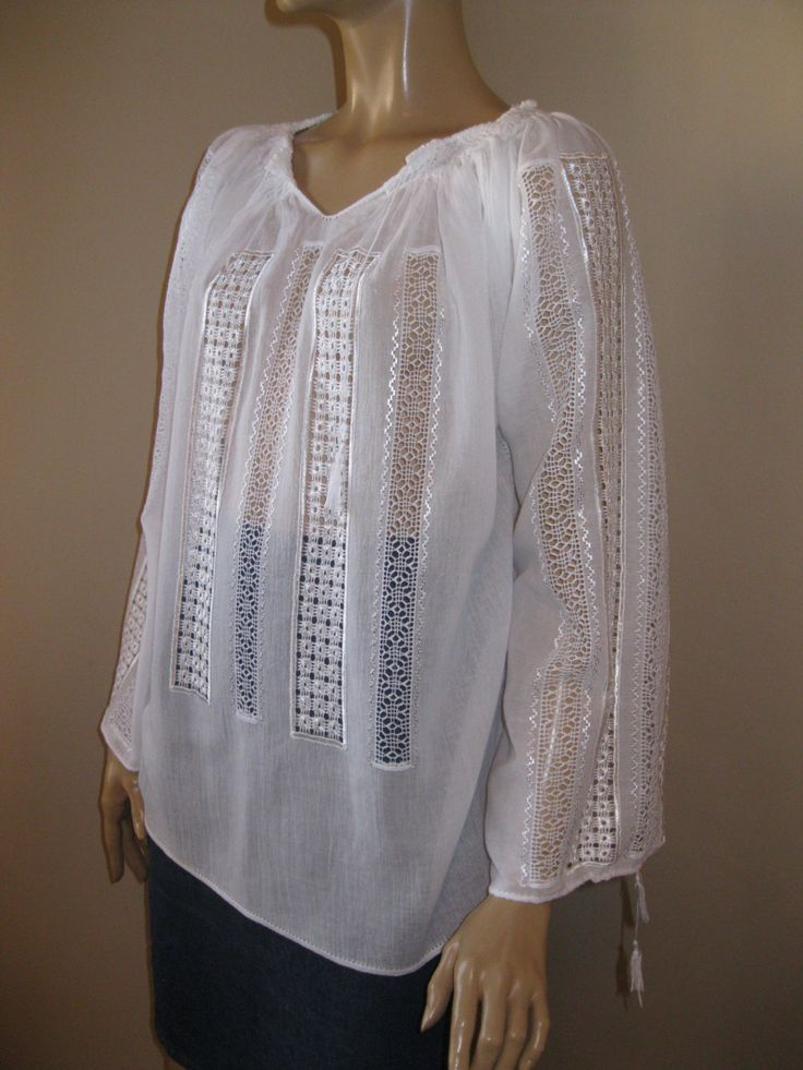 Romanian peasant blouse with lace - White Chamomile - size L by RealRomania on Etsy