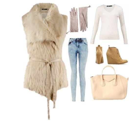 Осенний лук в бежевых тонах с меховой жилеткой, fashion