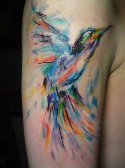 Watercolor bird - love these brush stroke style tattoos ...