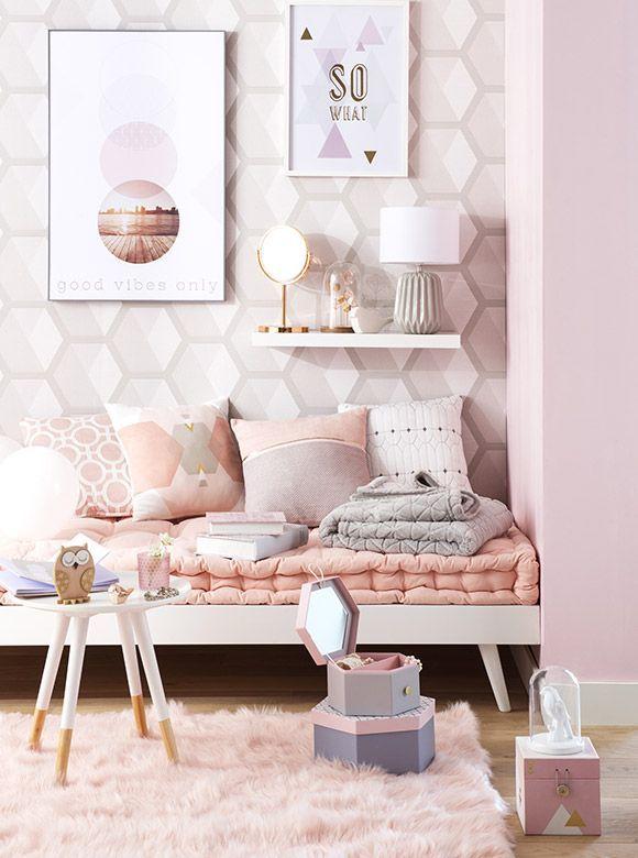 Tendance déco Graphik Pastel | Maisons du Monde. Tonos rosados y grises para el dormitorio