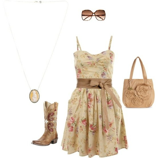I dont wear floral patterns a lot but I like this dress. I would change out the cowboy boots to a biker or combat boots ooooorr wear some heels or flats but eww to cowboy boots ...just eww