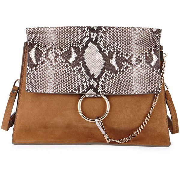 Chloe Faye Python Flap Shoulder Bag (43,440 MXN) ? liked on ...