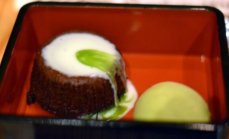 Molten chocolate cake with green tea ice-cream at Nobu in NYC.