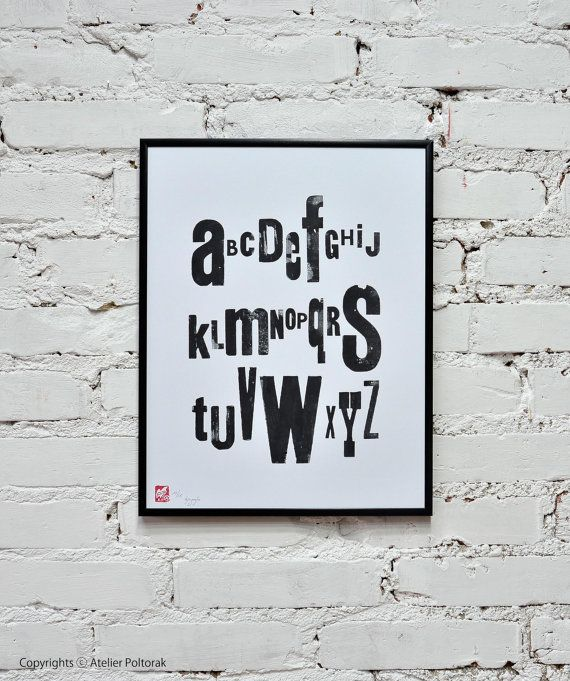 Black & White alphabet  letterpress poster by AtelierPoltorak