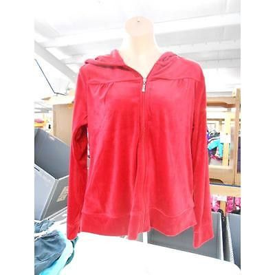 Women's Maternity Zip-Up Fitted Velour Hoodie, Medium, Jester Red Danskin Now