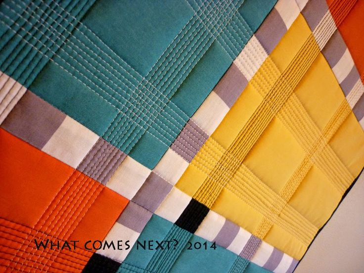 """Sublimely fantastic texture created here in this """"Colourblock"""" mini-quilt via the fabulous quilting of Janet of What Comes Next. Love it!"""
