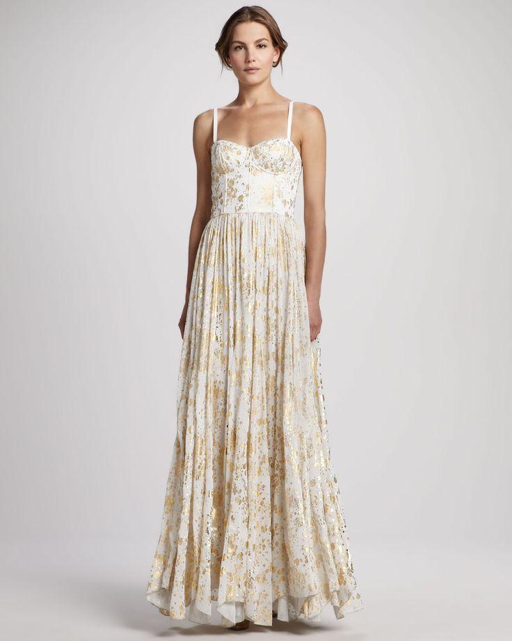 Metallic wedding guest dresses gold cream Alice and Olivia   OneWed.com