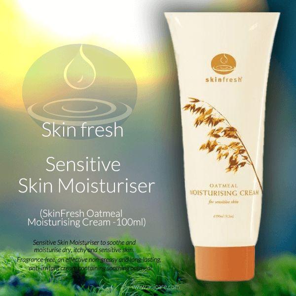 Sensitive Skin Moisturiser (SkinFresh Oatmeal Moisturising Cream -100ml) FOR DRY, ITCHY SKIN EXTREMELY SENSITIVE SKIN Please visit the site for more information: http://www.aqicare.com/…/sensitive-skin-moisturise…/VS791032