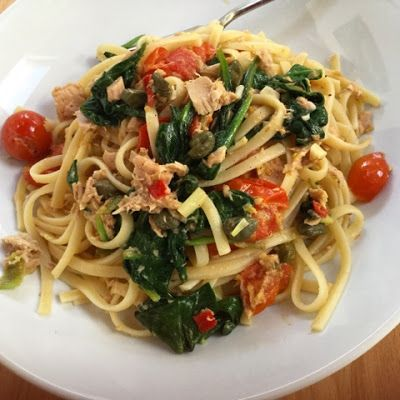 Mary Berry's Tuna and Spinach Linguine - This pasta dish is full of delicious fresh flavours and was popular with everyone the other evening. My friend had cooked it for me previously from the 'Foolproof Cooking' book by Mary Berry. It might be another cook book I'll have to invest in.