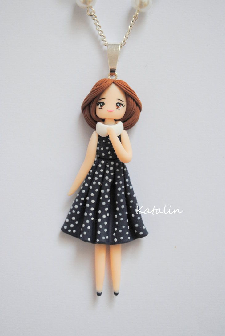 vintage chibi doll polymer clay necklace by