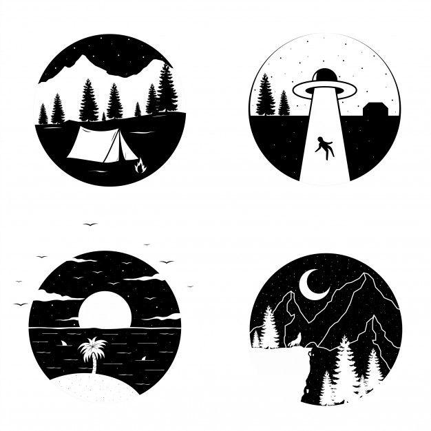 Black And White Circle T Shirt Or Sticker Design Black And White Stickers Black Stickers Sticker Art