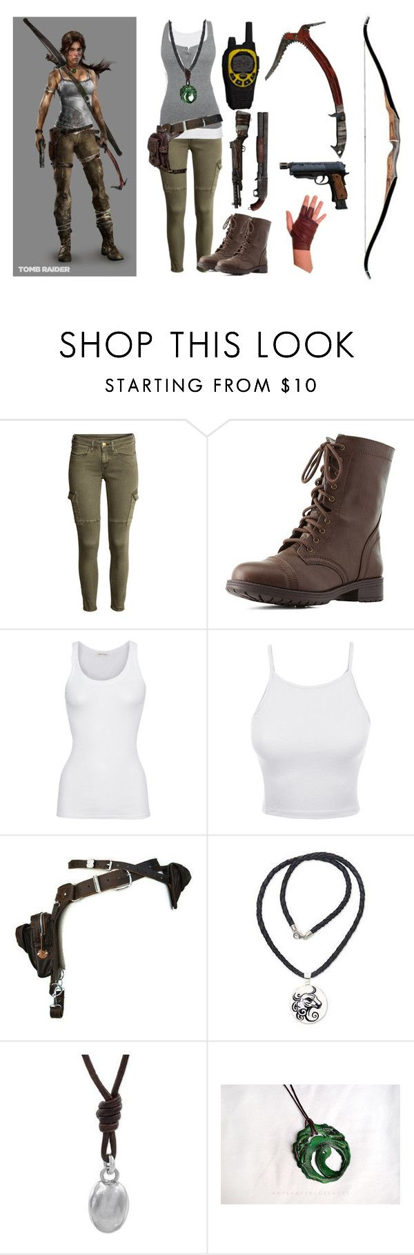 """""""Lara Croft [Tomb Raider 2013]"""" by musiclover55 ❤ liked on Polyvore featuring H&M, Charlotte Russe, American Vintage, LE3NO, Holster and NOVICA"""