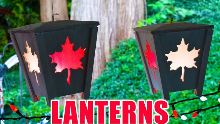 Wood Hanging LED Lanterns - Happy 150 Canada!